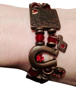 Other Handmade Lucky Charm Red Bead Brass Elastic Bracelet