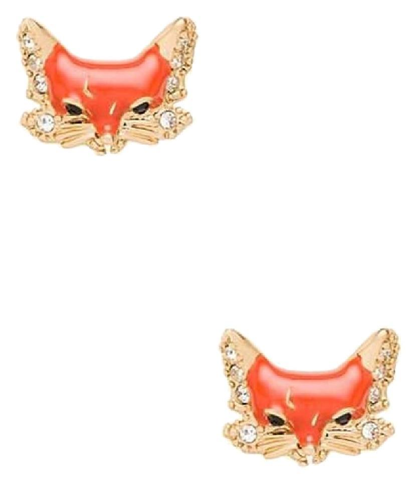 5e7bf501cc122 Kate Spade Orange and Gold New Into The Woods Fox Stud Earrings