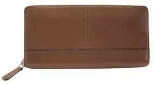 Coach PARK Accordion Zip Around SADDLE Leather Wallet HARD TO FIND!