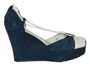 Tod's Suede Raffia Navy and white Wedges