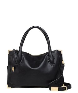 Foley + Corinna Leather Gold Hardware Satchel in Black