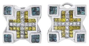 Joe Rodeo 2.50 CT Joe Rodeo Men's White, Yellow & Blue Princess Cut Earrings