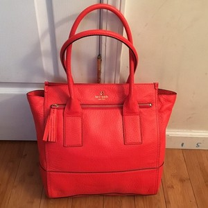 Kate Spade Green Carryall Leather Tote in Red/Orange