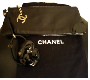 Chanel Wristlet in BLACK with gold hardware