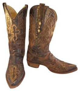 Corral Boots Western Cowboy Corrall Distressed Embroidered brown Boots