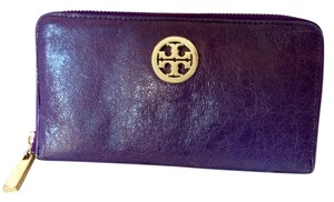 Tory Burch Zip Around Purple Distressed Leather Wallet