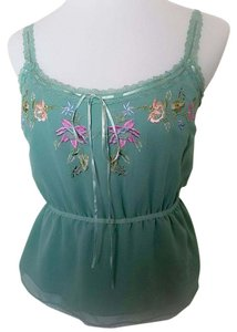 Betsey Johnson Silk Embroidered Top Soft Green