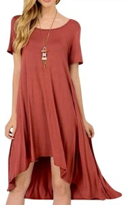 Red Maxi Dress by Southern Girl Fashion Mini Swing Tunic Bohemian Festival Winter Fall Spring Summer High Low Solid Short Sleeve