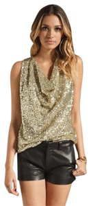 Lovers + Friends Sequin Fun Night Out Chic Top gold