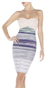 Hervé Leger Ombre Strapless Bandage Jacquard Empire Waist Dress