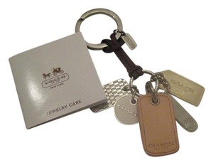 Coach Leather, Nickel, Silver Multi Tag Key Chain Fob Charm Keychain 62563