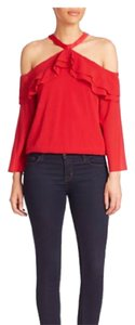 Alice + Olivia Cold Ruffle Spring Chic Top red