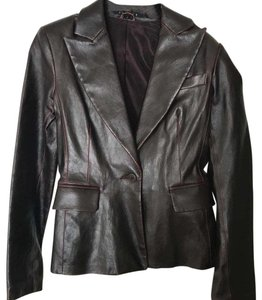 Theory Leather Blazer Burgundy Leather Jacket