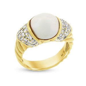 David Yurman 0.45 Ct. David Yurman Diamond & Mabe Pearl Textured Ring In Solid 18k