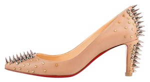 Christian Louboutin Studded Goldopump Spiked Nude Pumps
