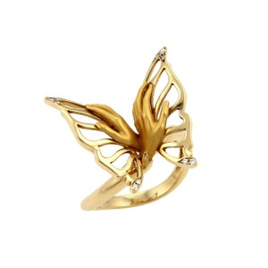 Magerit Magerit Diamond 18k Yellow Gold Hand & Butterfly Ring
