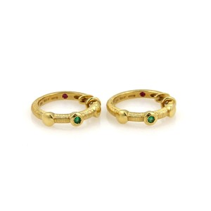 Roberto Coin Roberto Coin Emerald Hoop 18k Yellow Gold Earrings