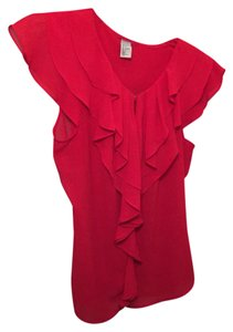 H&M Flowy Ruffles Top Red