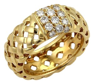 Tiffany & Co. 20101 - Vannerie Diamond 18k Yellow Gold Basket Woven Band Ring