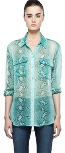 Equipment Python Silk Button Down Shirt Green