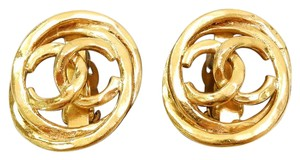 Chanel CHANEL Gold Plated CC Large Clip on Earrings