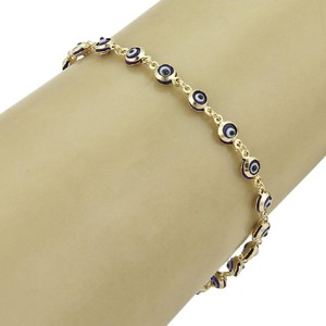 Modern Vintage Blue Enamel Good Luck Eye Bead Link 14k Yellow Gold Bracelet