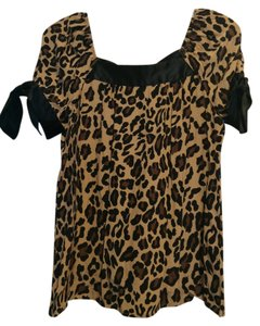 INC International Concepts Top Black/tan/brown