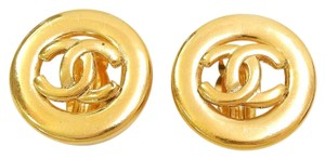 Chanel Early Vintage CHANEL Gold Plated CC Logos Round Earrings