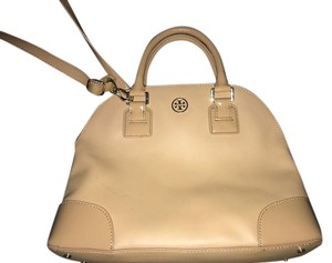 Tory Burch Robinson Leather Dome Satchel in Sand