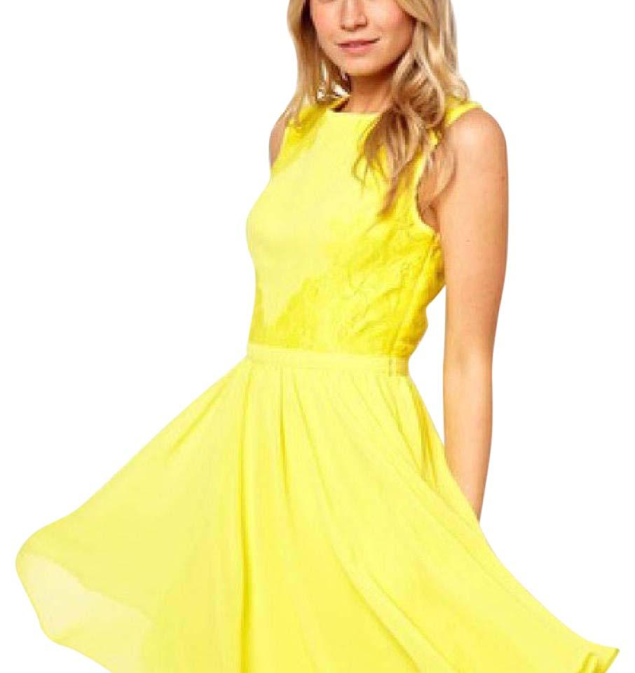 Ted Baker Yellow Lace Short Cocktail Dress Size 4 (S) - Tradesy