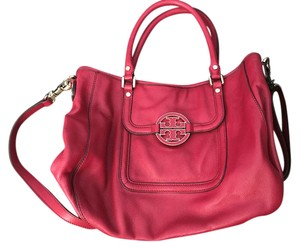 Tory Burch Amanda Pebbled Leather Satchel in carnival red
