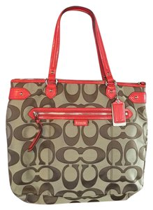 Coach Tote in brown with orange trim