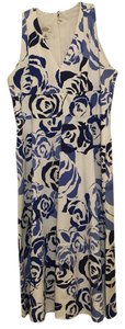 White and Blue Maxi Dress by Talbots Cotton Summer Floral