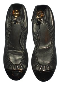Tory Burch Leather Imported Black & Gold Flats