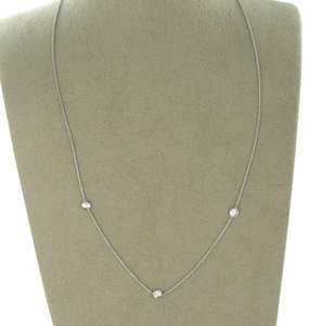 Roberto Coin Diamonds by the Inch 0.14ct 18K White Gold 3 Station Necklace