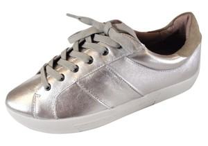 Joie Dakota Metallic Leather Sneakers Silver Athletic