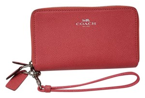 Coach Double Zip Phone Strawberry Pink Wallet