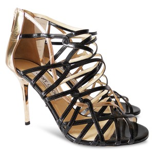 Jimmy Choo Patent Leather Cut-out Heels Open Toe Gold, Black Sandals