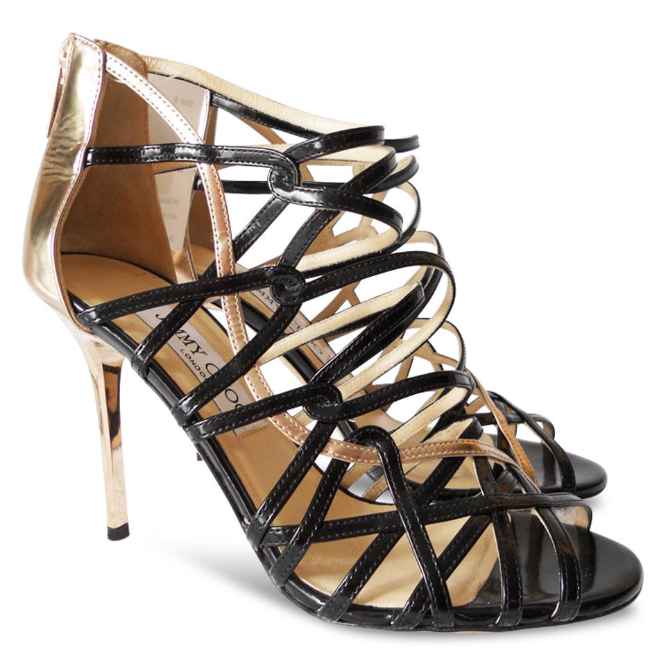 Jimmy Choo Gold Black Leather New Fiscal Cut-out Patent Leather Black Heels - Sandals cd5df4