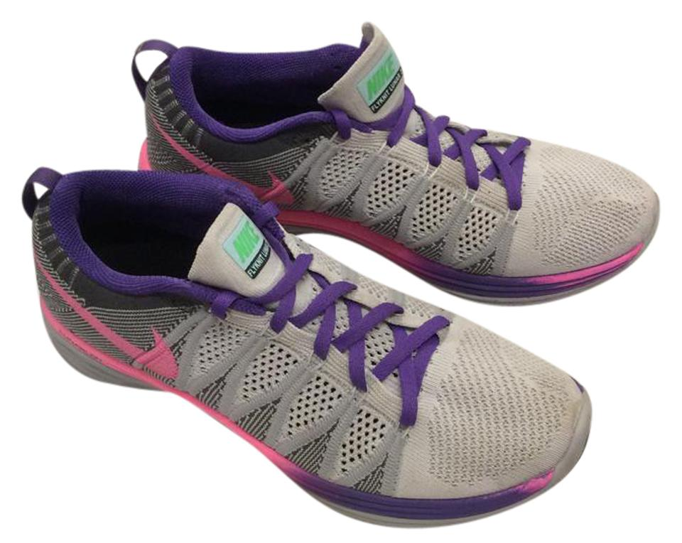 best service 1eb14 6d073 Nike Air Running Flyknit Lunar Id Light Grey, Purple, Pink Athletic Image 0  ...