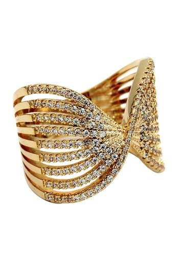 Ocean Fashion Sparkling crystal butterfly powder gold ring