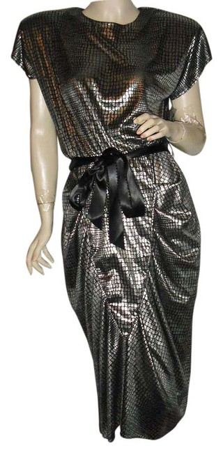 Preload https://img-static.tradesy.com/item/20883426/silver-black-padded-draped-skirt-vintage-montgomery-wards-mid-length-cocktail-dress-size-10-m-0-2-650-650.jpg