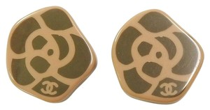 Chanel CHANEL Plastic CC Logos Taupe Brown/ Black Camelia Earrings