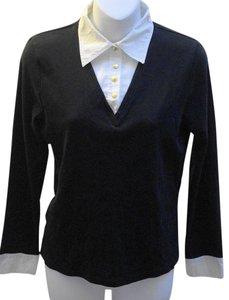 Ralph Lauren Gold Button Longsleeve Top Black