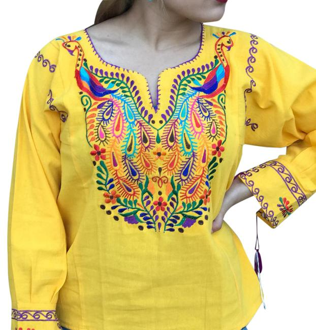 Preload https://img-static.tradesy.com/item/20883560/yellow-peacock-blouse-size-4-s-0-1-650-650.jpg