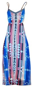 Blue black pink Maxi Dress by BCBGMAXAZRIA