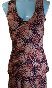 Axcess a Liz Claiborne Company Top Black multi with pink, tan, light brown and dark brown.
