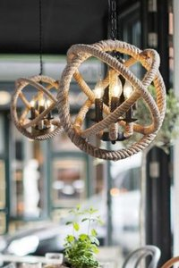 Chandelier 4 Light Orb Sphere Hanging Ceiling Rope Burlap Brown Lamp P