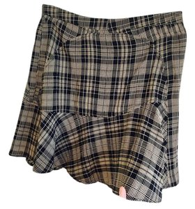 Reformation Festival Plaid Mini Skirt Black and Tan