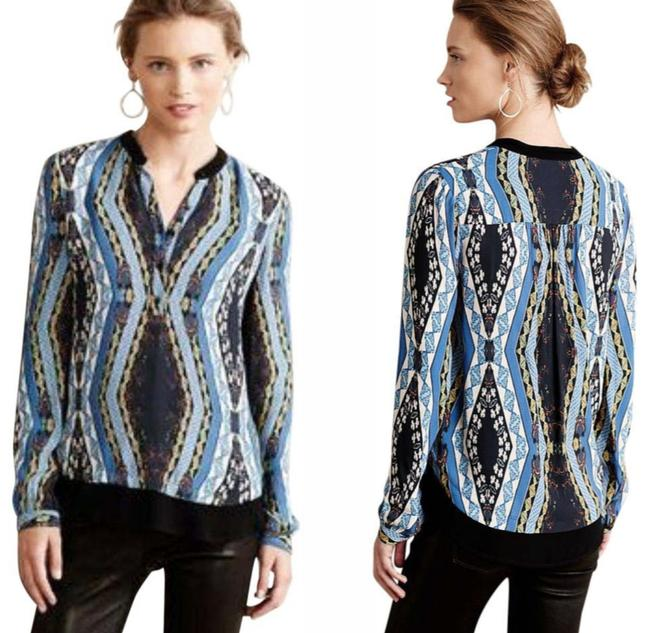 Anthropologie Button Front Top Blue